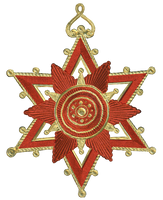 Dresden Paper Medallion Ornament 4 - Red and Gold by EveyD