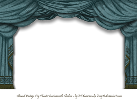 Dark Teal Paper Theater Curtain with Shadow by EveyD