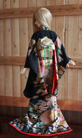 BJD kimono, Black Formal Furisode with Sensu 2 by InarisansCrafts