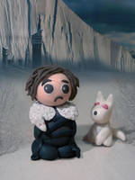 Jon Snow and Ghost by coralfg