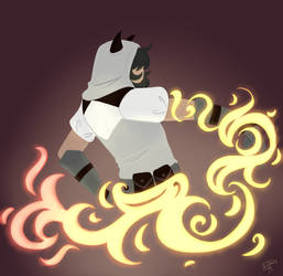 local superhero practicing fire powers by WildfireIllustration