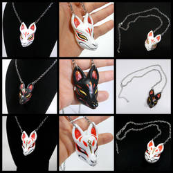 Mini Kitsune Mask Necklaces by DragonCid