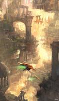 Through the ruins by Darkhikarii