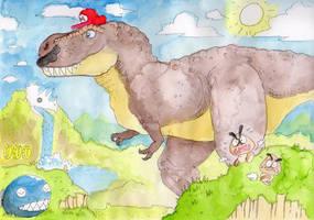 Super Mario Odyssey- T. rex Mario by DinoDilopho