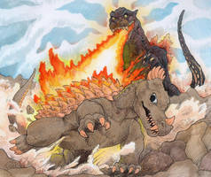 Anguirus vs Godzilla by DinoDilopho