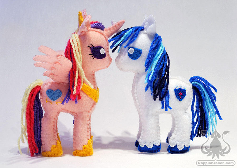 Princess Cadence and Shining Armor Felt Plushies by NappinKraken