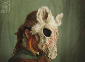 White Wolf Skull Mask with Runes by Nymla
