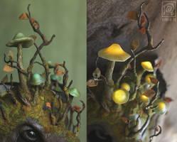 Forest Spirit Boar - Glowing mushrooms [for sale] by Nymla