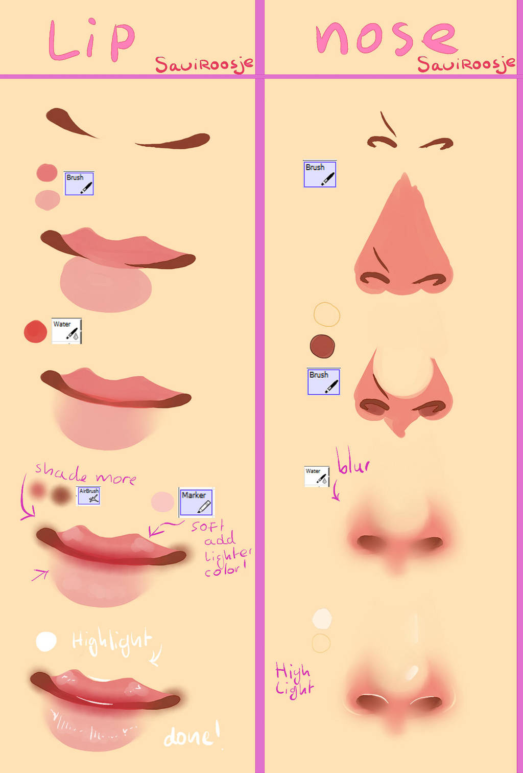 Step by Step - Lips and Nose by Saviroosje
