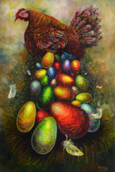 Chicken. Acrylic, canvas 94 * 70 by Natamur