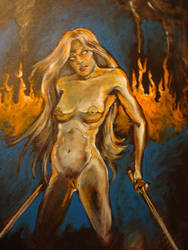 Naked chick with swords by skycladstrega