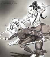 Boar Fight by skycladstrega