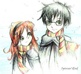Harry and Ginny in Winter by piratekitty