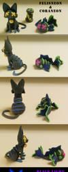 Felisneon and Coraneon Clay Figures by AlkseeyaKC