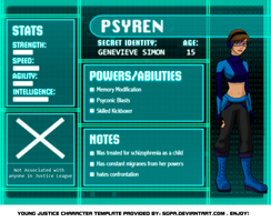 Young Justice: Psyren Bio by Whyte-Tyger