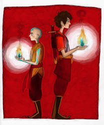 aang and zuko by ReinardFox