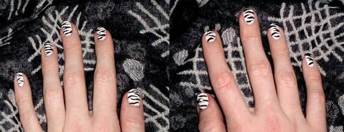 Zebra Nail Art by bottomofastairwell