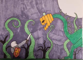 Skull Knight vs. Pumpkinmonster by jweinrub