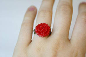 Blushing Red Flower Ring by MonsterBrandCrafts