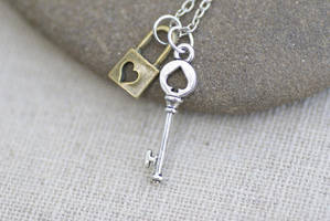 Tiny Key and Padlock Necklace by MonsterBrandCrafts