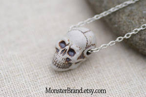 Tiny Skull Necklace by MonsterBrandCrafts