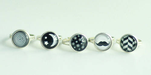 Black and White Rings by MonsterBrandCrafts