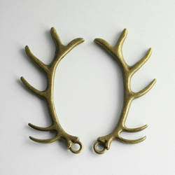 Bronze-tone Antler Charms by MonsterBrandCrafts