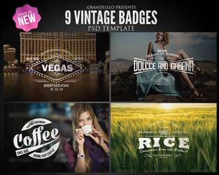 Vintage Badges PSD Template 2.0 by Grandelelo