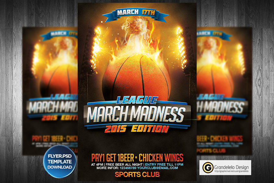 March Madness Basketball Flyer Template By Grandelelo On Deviantart