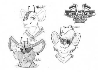 Biker Mice from Mars Headshot sketches by Raben-Katze
