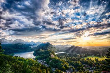 Bayern, Neuschwanstein region sunset by alierturk