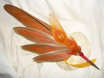 Relic of Phoenix - handpainted Featherquill by Ganjamira