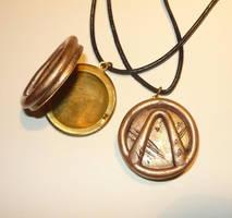 Golden Vaultsymbol - openable Locket Pendant by Ganjamira