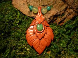 Whisperleaves Talisman - handmade Necklace III by Ganjamira