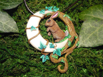 The Moon and the Hare - handmade Pendant by Ganjamira