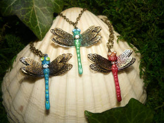 Dragonfly Swarm - handmade Pendants by Ganjamira