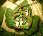 Happy Kodamas - Mononoke Hime Pendant by Ganjamira