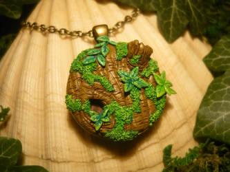 A Piece of Forest - handsculpted Pendant by Ganjamira