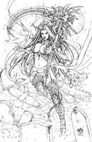Lady Death - Morrigan line art by JwichmanN