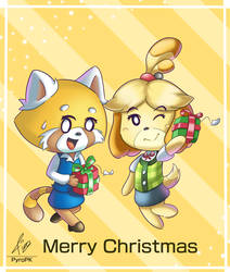 Retsuko and Isabelle Christmas 2018 by PyroPk