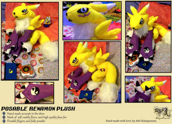Updated Renamon Plushie 2! FOR SALE by KeybladeFoxsquirrel