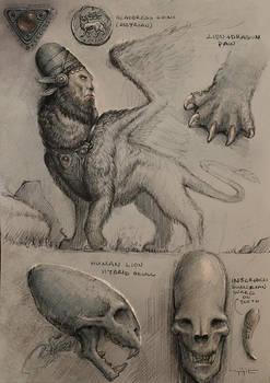 Assyrian Sphinx Sketch by yigitkoroglu