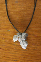 silverclay leave necklace by wulvi