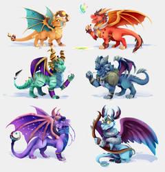 Young elder dragons by Mekuvi