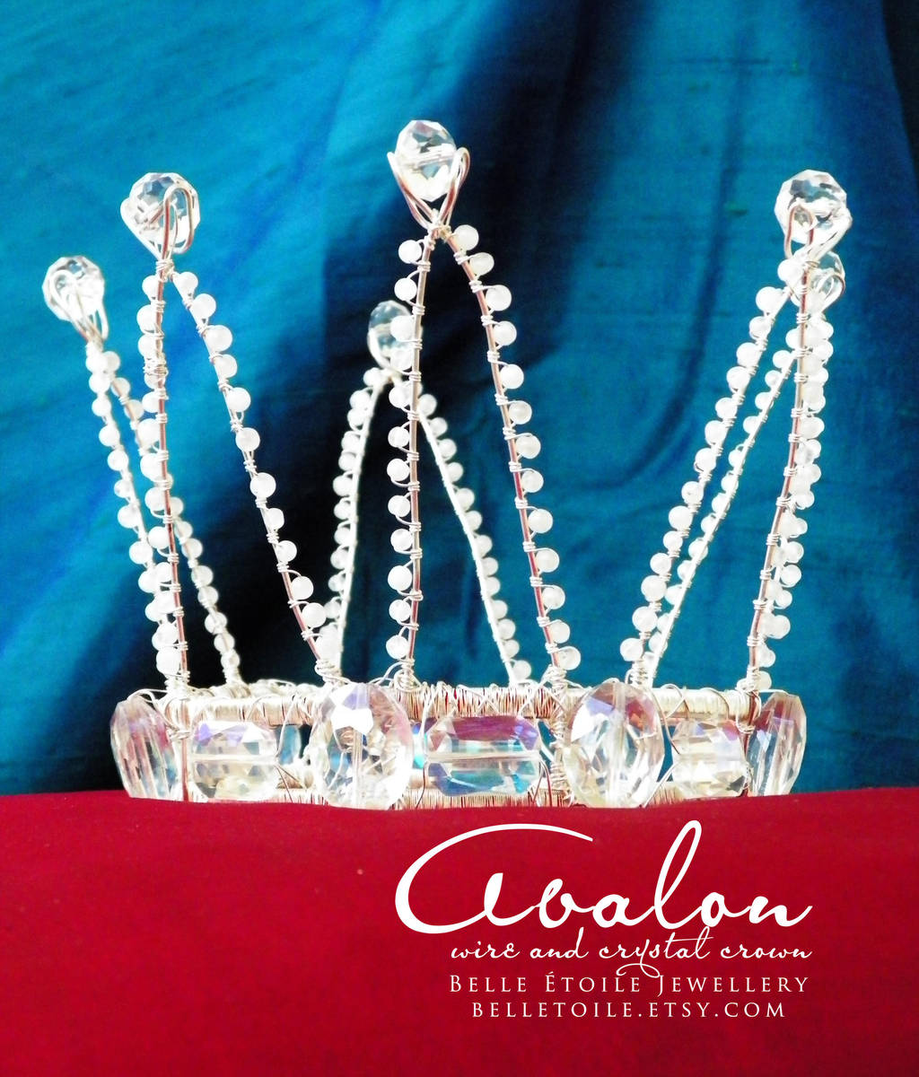 Avalon - wire, crystal, and moonstone mini coronet by zephyrofgod