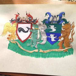 Anna and Gieffrei's Conjugal Heraldic Achievement by zephyrofgod