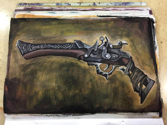 Hunter Pistol from Bloodborne. (Poster colour) by BlacksmithOWY