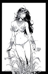 David Finch Dejah Thoris INKS by knockmesilly