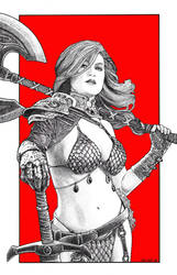 Red Sonja in Stippling by knockmesilly