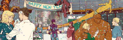 Silver Age Heroes Party for Blastoff Comics by elena-casagrande
